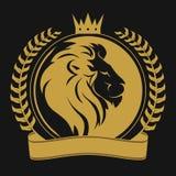 Tête de lion avec le logo de couronne Image stock