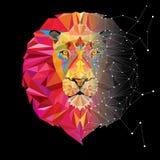 Tête de lion dans le modèle géométrique avec la ligne d'étoile Image libre de droits
