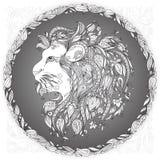 Tête de lion dans un cadre floral Image libre de droits