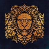 Tête de lion Illustration d'isolement de vecteur Images libres de droits