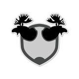 Tête de Logo Moose sur un bouclier Emblème pour le club de chasse Vecteur IL Photo stock