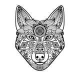 Tête de loup avec l'ornement tiré par la main Image stock