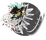 Tête de loup, oeil de loup, aile et cercle Photo stock