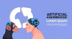 Tête de mâle et de singe avec le concept moderne d'intelligence artificielle de Brain Over Updating Sign Aroows de cyborg Photographie stock libre de droits