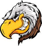Tête de mascotte d'aigle avec l'expression astucieuse Images stock