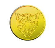 Tête de pièce d'or d'un tigre Photo libre de droits