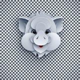 Tête de porc d'isolement sur le fond transparent symbole lunaire de la nouvelle année 2019 Élément de conception de vue supérieur illustration stock