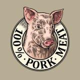 Tête de porc 100 pour cent de porc de lettrage de viande Gravure de vecteur de vintage Illustration Libre de Droits