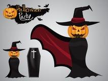 Tête de potiron avec le costume de Dracula la partie de Halloween et le Halloween illustration libre de droits