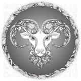 Tête de Ram dans un cadre floral Photos libres de droits