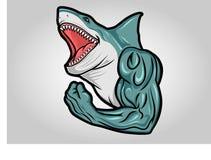 Tête de requin Logo Vector Mascot Aquatic Predator dangereuse illustration stock