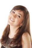 Tête de rotation de sourire de brunette Image libre de droits