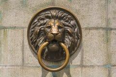 Tête de s de lion 'avec un anneau Photo stock