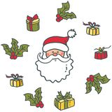Tête de Santa Claus et des cadeaux Éléments pendant Noël et la nouvelle année illustration stock