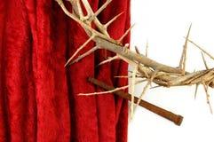 Tête des épines et de la transitoire sur le tissu rouge Images stock