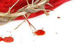 Tête des épines sur des baisses rouges de tissu et de sang Images stock