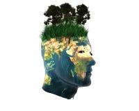 tête des hommes 3D avec la texture de la terre illustration libre de droits