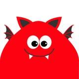 Tête drôle de monstre avec de grands yeux, dent de croc et ailes Personnage de dessin animé mignon Couleur rouge Collection de bé Image libre de droits