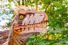 Tête du dinosaure d'Utharaptor photographie stock libre de droits
