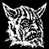 Tête effrayante de démon à cornes avec des crocs Illustration de vecteur illustration de vecteur