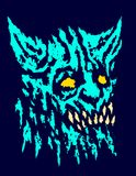 Tête effrayante de démon à cornes avec les crocs saillants Illustration de vecteur illustration libre de droits