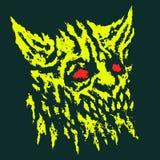 Tête effrayante de démon à cornes Illustration de vecteur illustration libre de droits