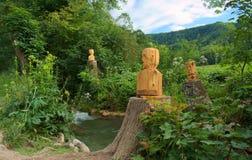 Tête en bois chez l'Allemagne, l'eau Photos stock