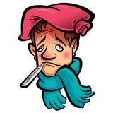 Tête en difficulté d'homme de bande dessinée avec le sac d'écharpe et de glace de thermomètre Images stock