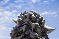 Tête en pierre de lion Images libres de droits