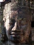 Tête en pierre, temple de Bayon, Cambodge images libres de droits