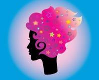 Tête et cheveux de femme Photo libre de droits