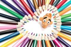 Tête et crayons de pâte à modeler Photo libre de droits