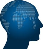 Tête et globe, personne et globe, logo, icône de personne