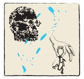 Tête et grenouille - jaune Image libre de droits