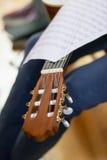 Tête et illustrations musicales du fretboard de guitare acoustique sur un fretboa Photos stock
