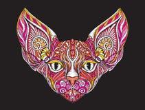 Tête fleurie modelée ethnique de broderie de chat de sphinx illustration stock