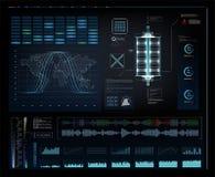 Tête futuriste graphique d'interface utilisateurs vers le haut d'affichage illustration de vecteur
