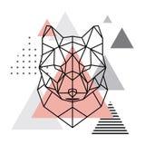 Tête géométrique d'un loup sur un fond scandinave Image stock