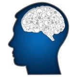 Tête humaine avec des ampoules dans le cerveau Illustration Libre de Droits