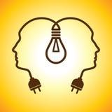 Tête humaine avec l'ampoule Image stock