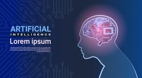Tête humaine avec le concept moderne d'intelligence artificielle de fond de Brain Mechanism Over Circuit Motherboard de cyborg Photos libres de droits