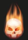 Tête humaine de crâne avec la flamme Images stock