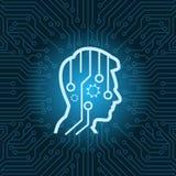 Tête humaine Digital pensant l'icône au-dessus du fond bleu de carte mère de circuit Photo libre de droits