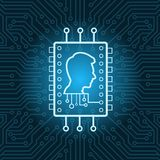 Tête humaine sur le fond de carte mère de Chip Icon Over Blue Circuit Photographie stock