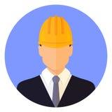 Tête masculine de constructeur portant un casque Conception plate avatar illustration stock