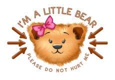 Tête mignonne d'ours avec le texte et les flèches images stock