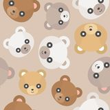 Tête mignonne d'ours de nounours de modèle sans couture pour l'usage comme papier peint ou ch illustration libre de droits