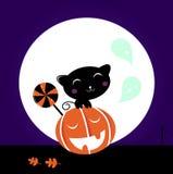 Tête mignonne de chat noir, de potiron et lucette douce illustration stock