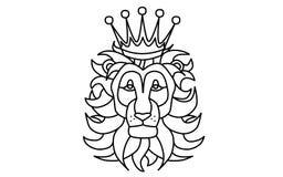 Tête noire et blanche de lion avec une couronne illustration de vecteur