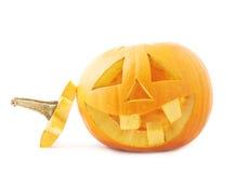 tête orange de potiron de Jack-o'-lanternes d'isolement Images stock
